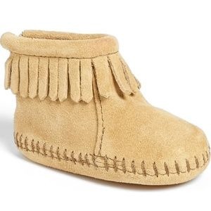 MINNETONKA Brown Baby Leather Moccasins Infant 3